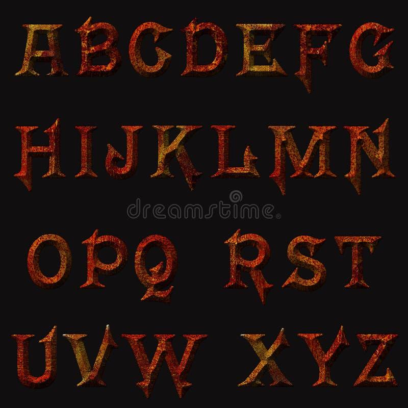 Iron rusty letters, metal vermilion rust alphabet royalty free stock photos