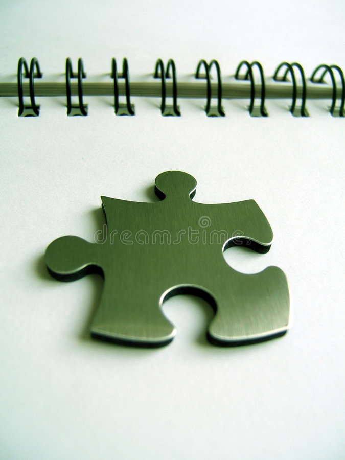 Metallic jigsaw 3D rendered royalty free stock photo