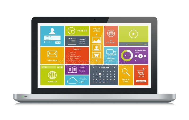 Metallic laptop with modern UI royalty free illustration
