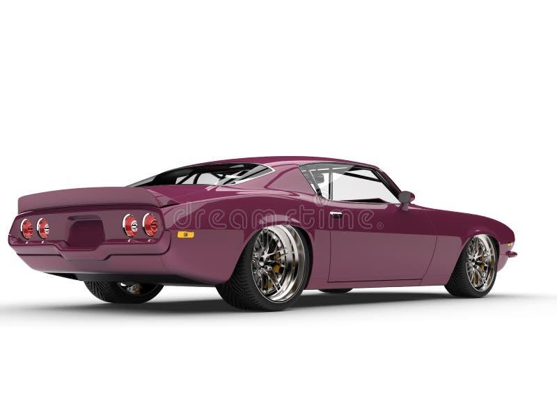 Metallic magenta old school vintage American car - rear view royalty free illustration