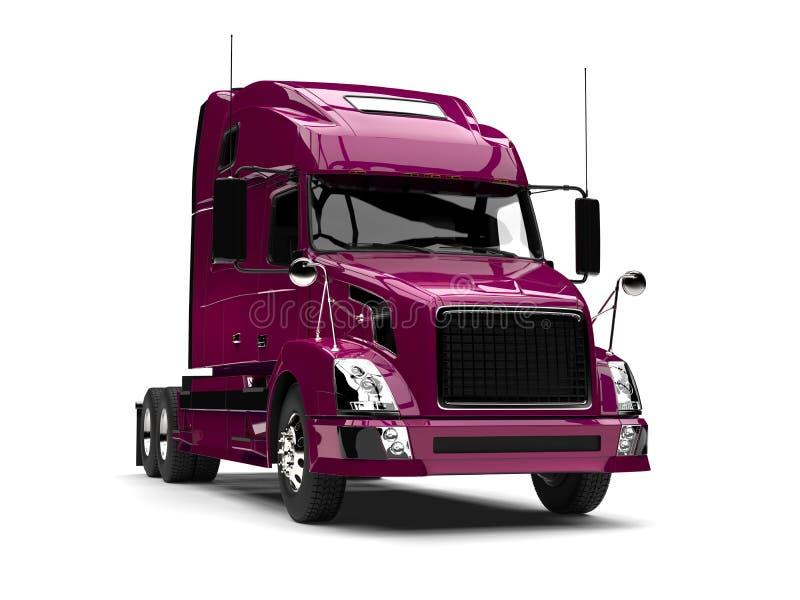 Metallic magenta semi trailer truck vector illustration