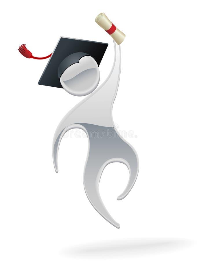 Metallic man graduation concept. A metal cartoon mascot character graduation concept royalty free illustration