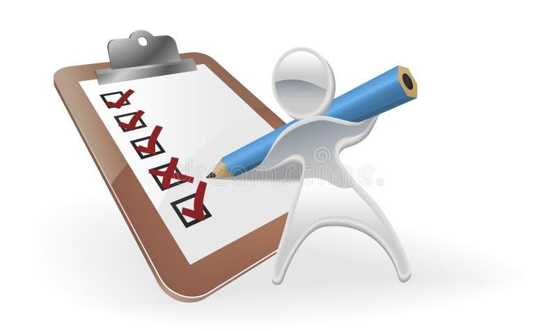 Metallic mascot survey feedback concept vector illustration