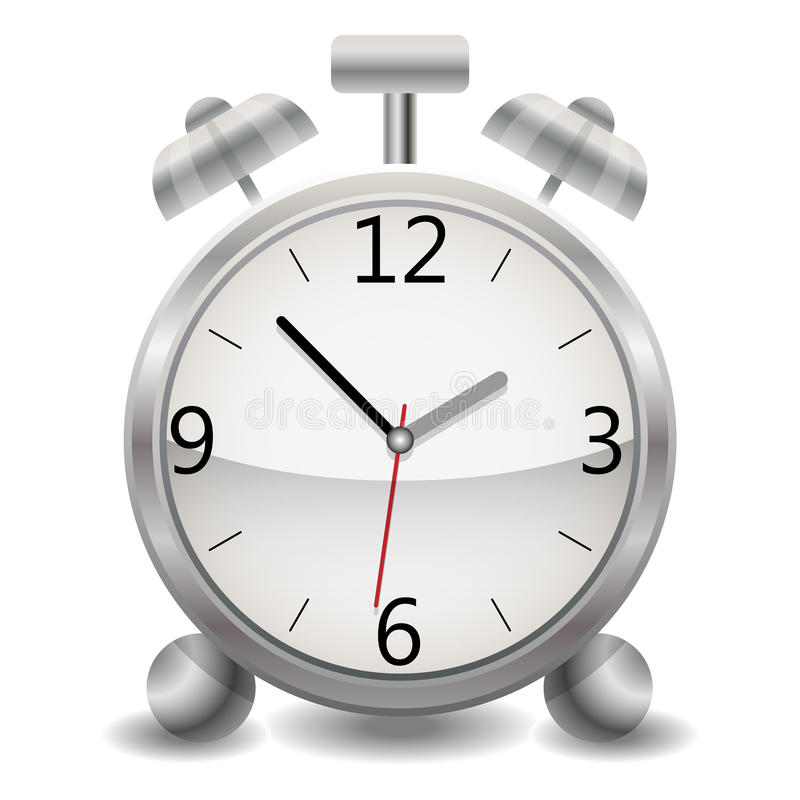 A metallic mechanical realistic alarm clock, a clock showing fifty-three minutes after one o`clock in the afternoon vector illustration