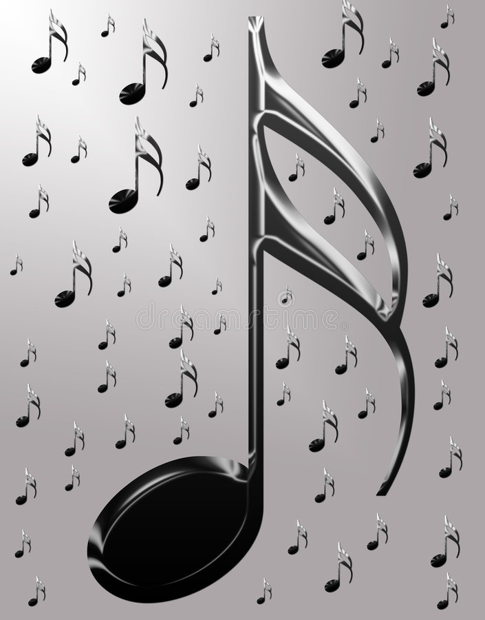 Metallic musical notes stock photography