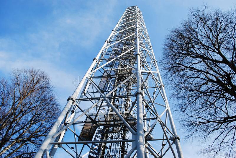 Metallic panoramic tower stock images