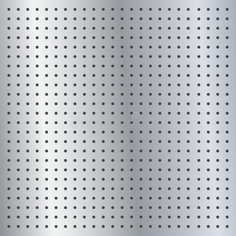 Free Metallic Peg Board Perforated Texture Background Material With Round Holes Pattern Board Vector Illustration. Stock Images - 197858294