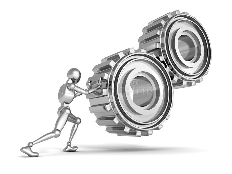 Metallic person man pushes a heavy gears. 3d vector illustration