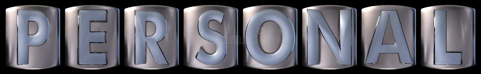 Metallic personal word. Metallic blue silver personal word realistic 3d rendered on black background stock illustration