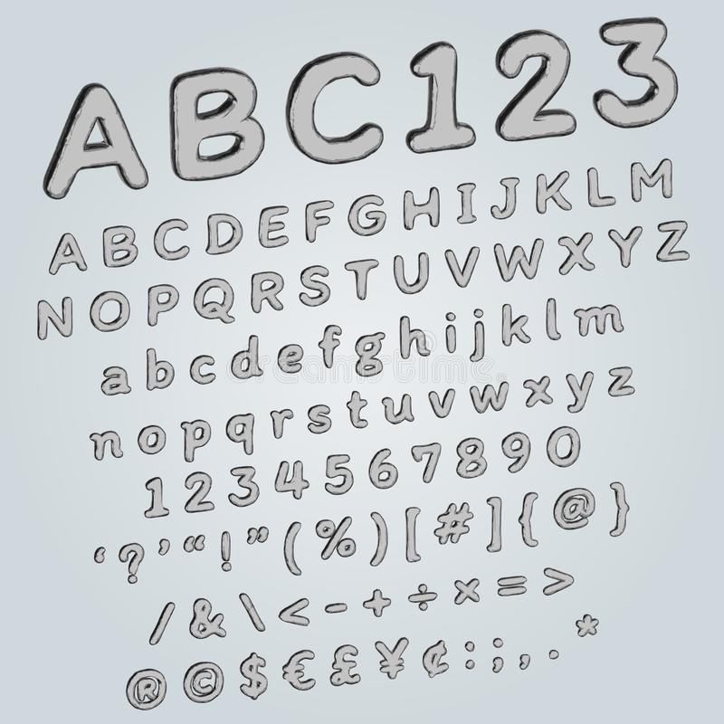 Metallic 3D font for urban futuristic poster or any modern decoration royalty free illustration