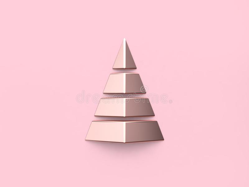 Metallic pink glossy reflection abstract christmas tree 3d render royalty free illustration
