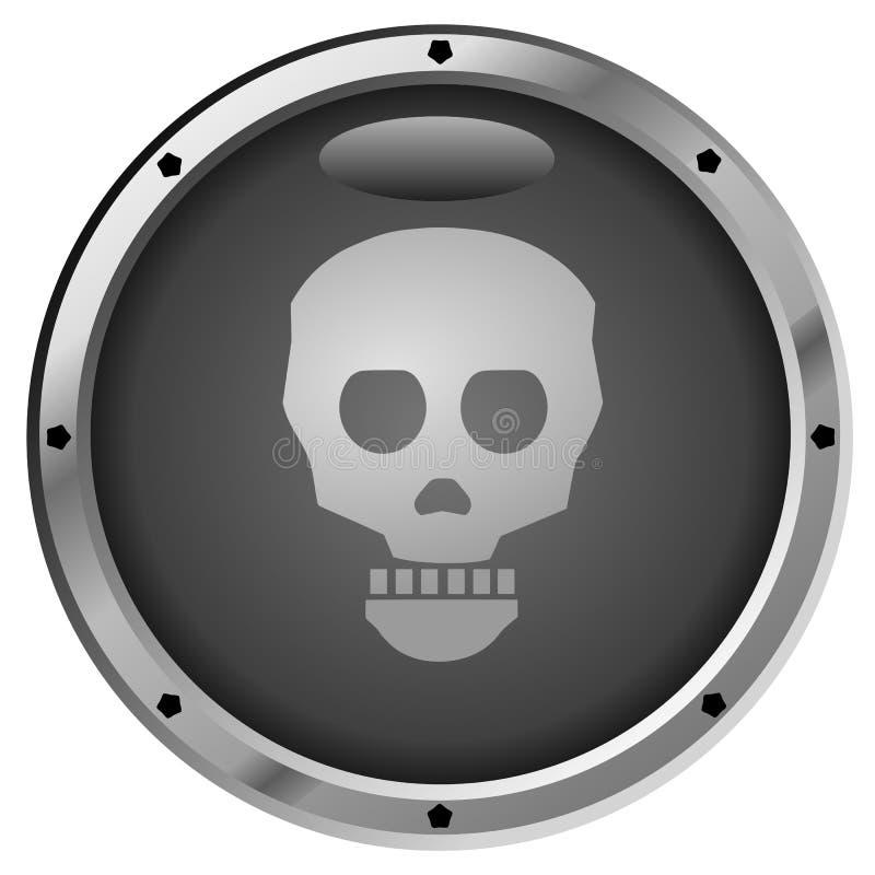 Metallic Pirate Skull Button stock illustration
