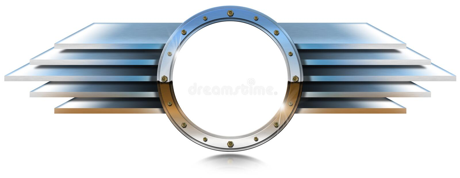 Metallic Porthole with Metal Wings stock illustration