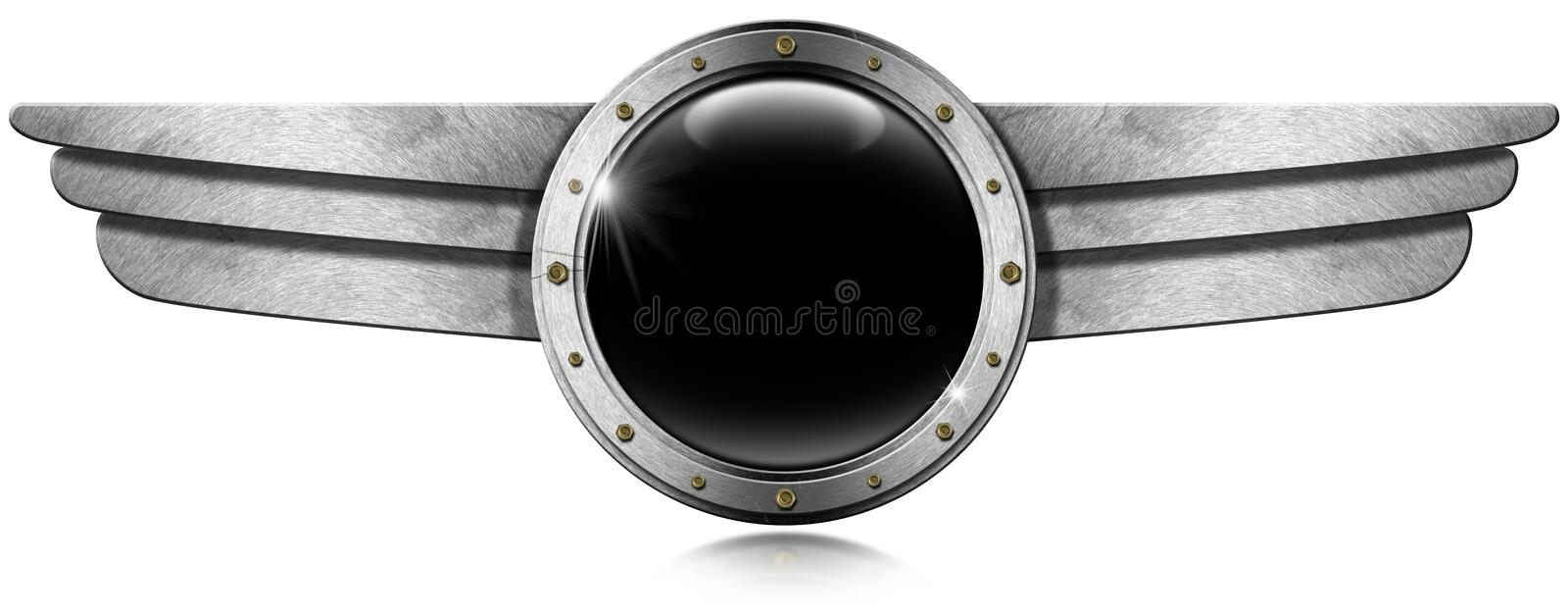 Metallic Porthole with Metal Wings vector illustration