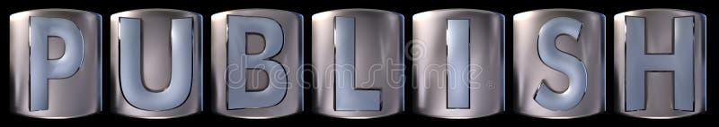 Metallic publish word. Metallic blue silver publish word realistic 3d rendered on black background vector illustration