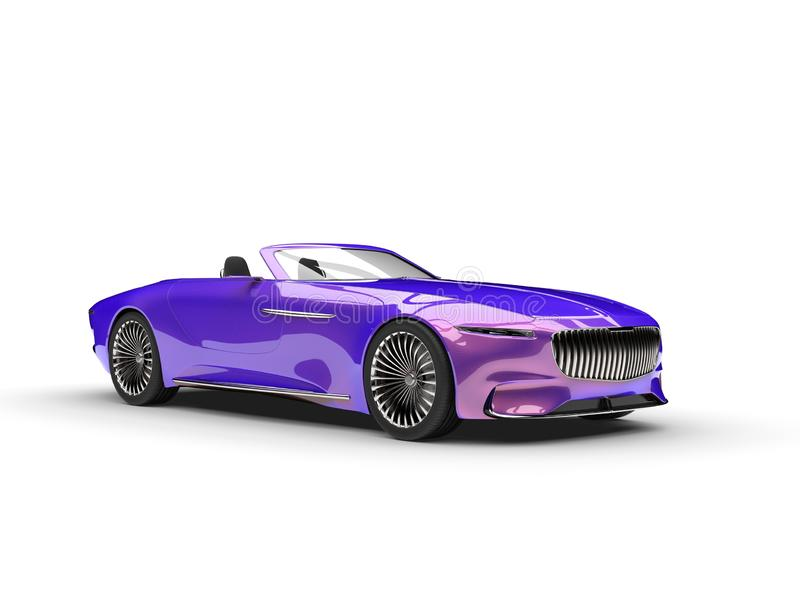 Metallic purple modern convertible concept car. Isolated on white background royalty free illustration