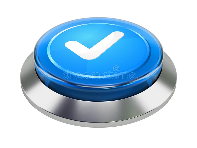 Metallic push button with check mark royalty free illustration