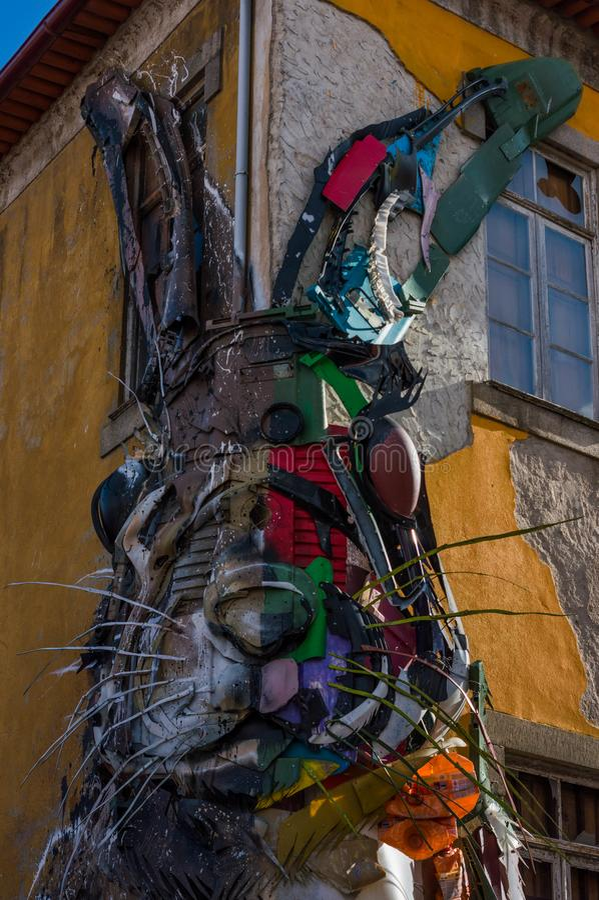 metallic rabbit in Porto stock image