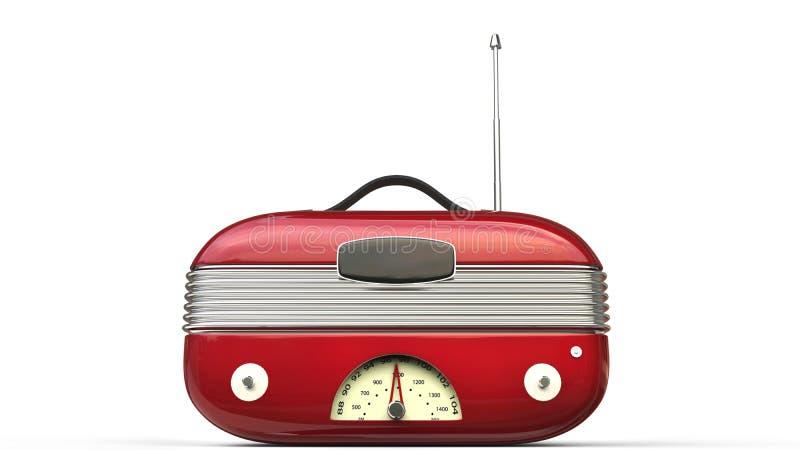 Metallic red cool vintage radio - front view royalty free illustration