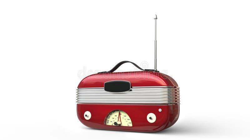 Metallic red cool vintage radio stock illustration