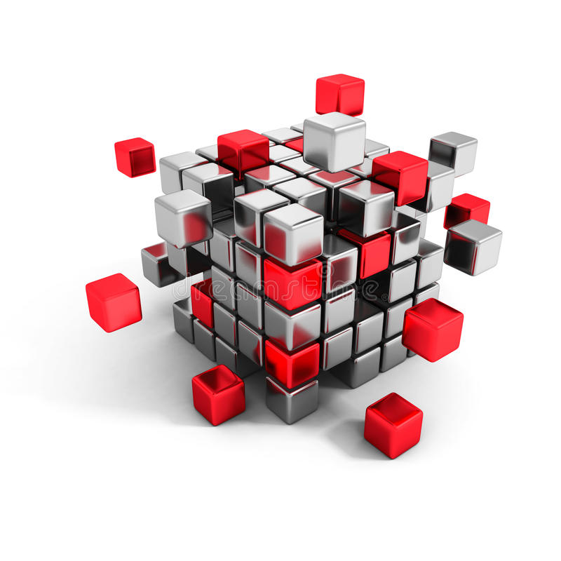 Metallic and red cube blocks structure. Business teamwork royalty free illustration