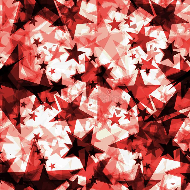 Metallic red glowing dark golden stars on a light background in the projection stock illustration
