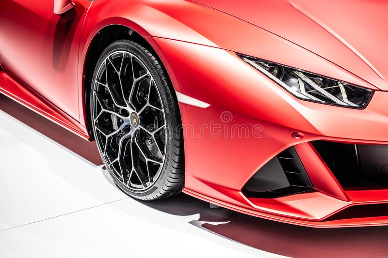 Metallic red Lamborghini Huracan Evo Spyder at IAA, 2020 model year supercar manufactured by Italian Lamborghini royalty free stock photography