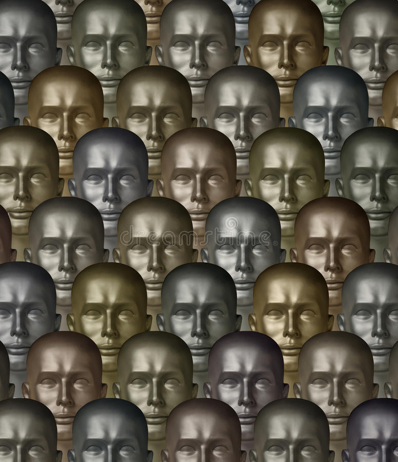 Metallic robot androids one with human eyes. Rows of metallic robot androids of various metals or alloys stock images