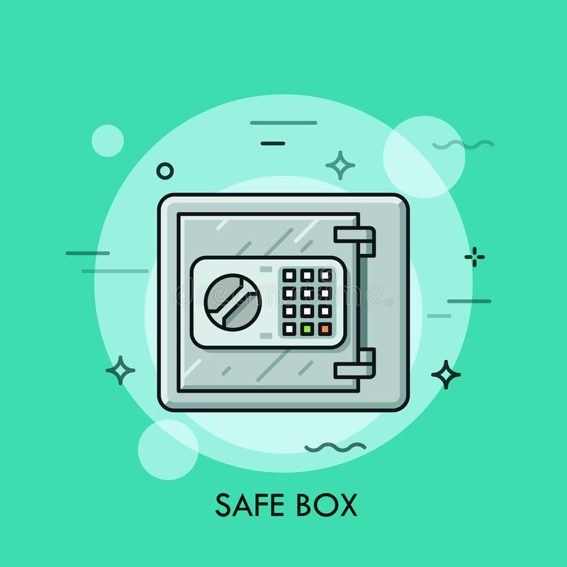 Metallic safe box with closed door and buttons of electronic lock code on it. Money storage, safety, security, bank stock illustration