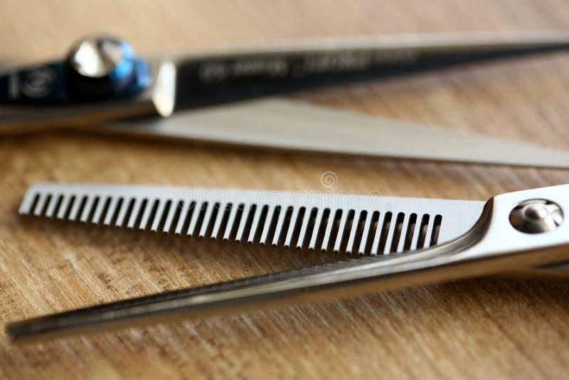 Metallic Scissors of Hairdresser Closeup Photo royalty free stock image