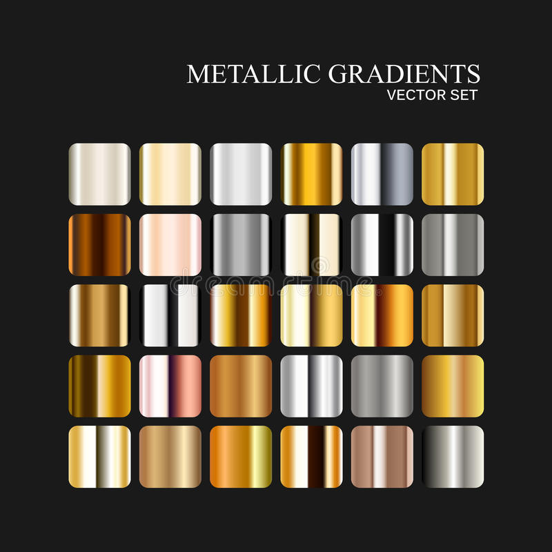 Metallic silver, golden and bronze gradient collection. Vector illustration of metallic gradient patterns for design vector illustration