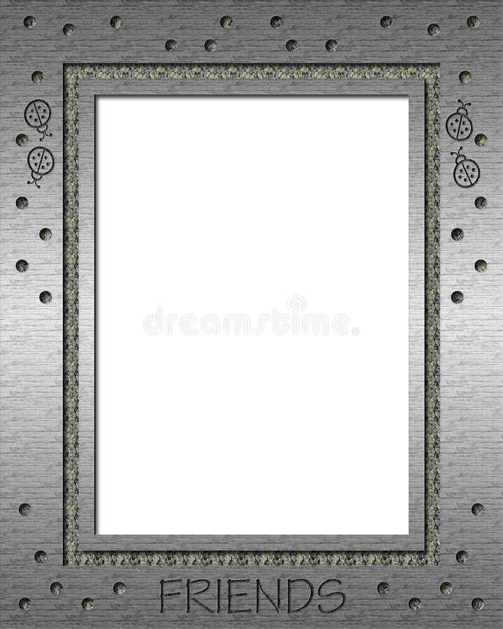 Metallic silver picture frame. With dots and ladybugs royalty free illustration