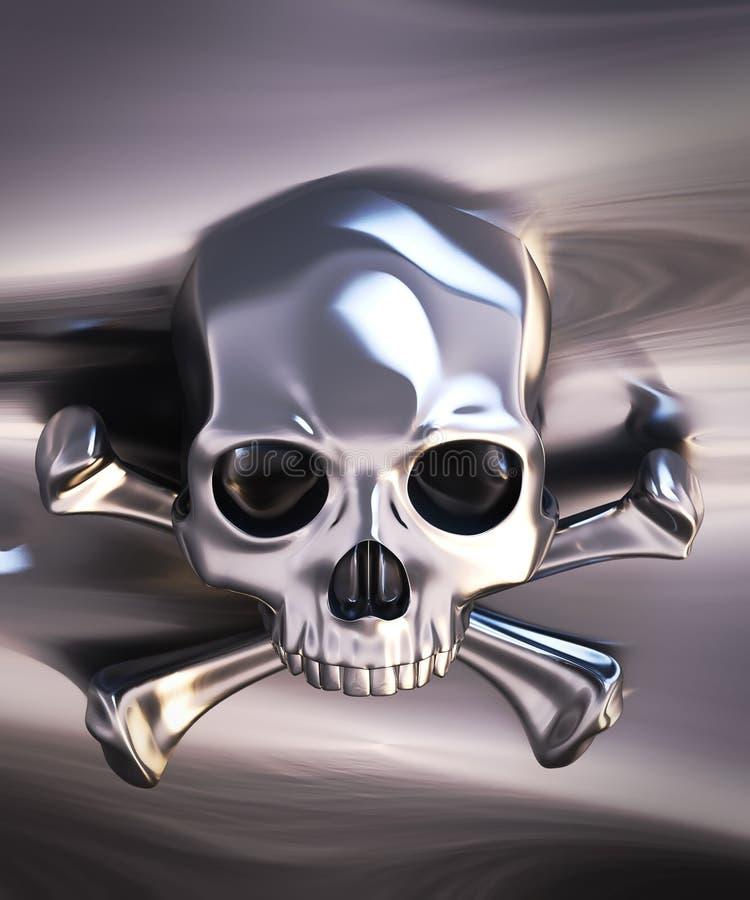 Metallic skull and crossbones vector illustration