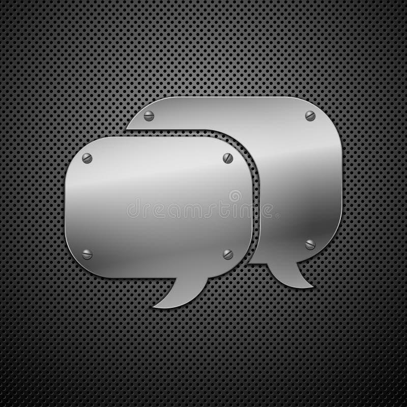 Metallic speech bubble icon. vector illustration