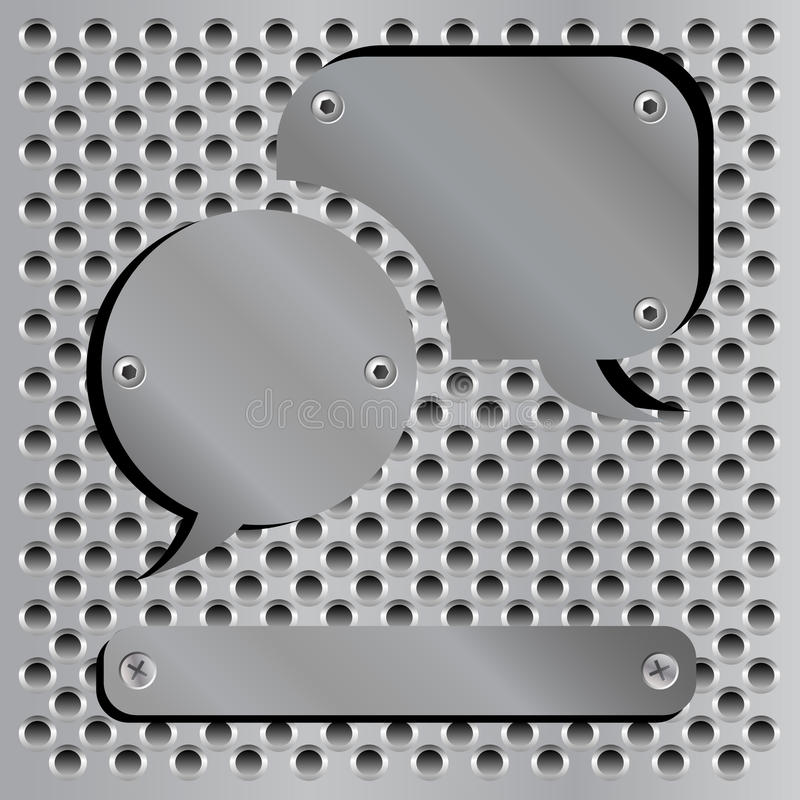 Metallic speech bubble icons royalty free illustration