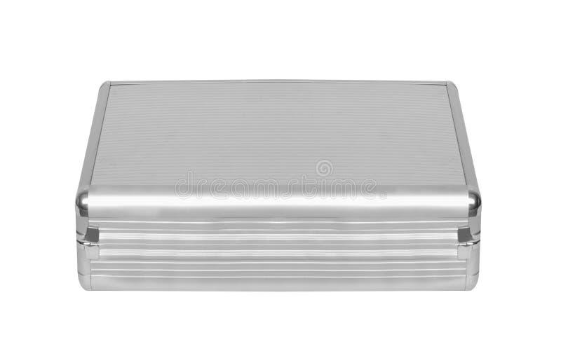 Metallic suitcase on white stock photo