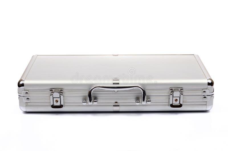 Metallic suitcase on white background, metalic briefcase stock photo
