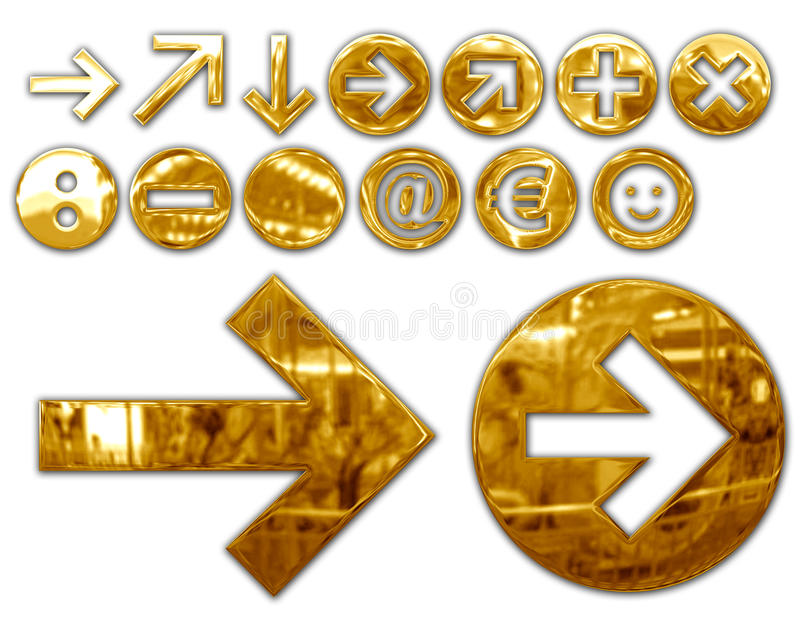 Metallic symbols. Various metallized gold symbols, graphic elaboration vector illustration