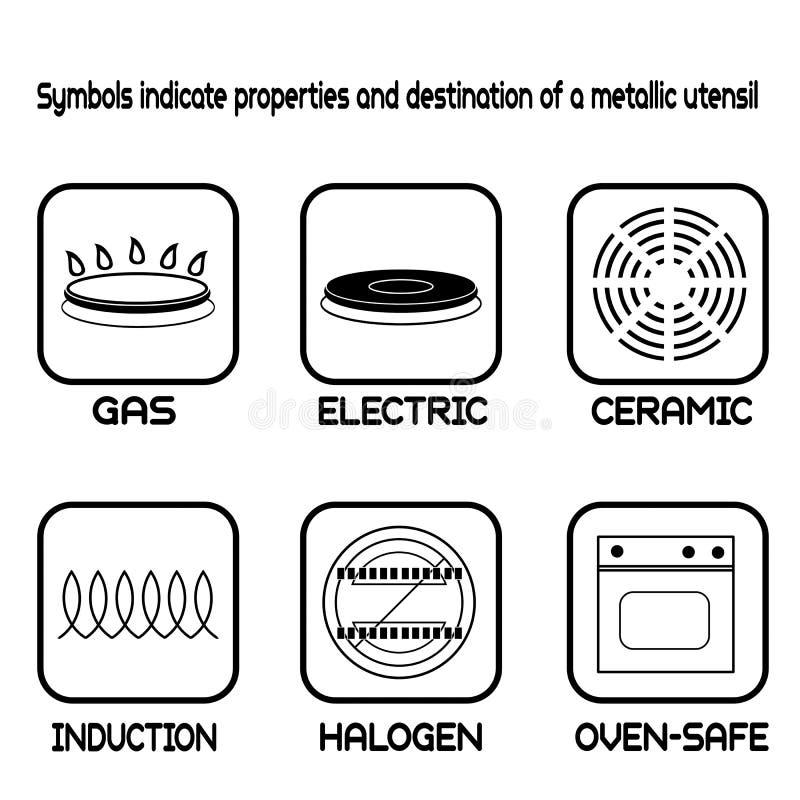 Metallic tableware symbols for food grade metal. On white, vector illustration stock illustration