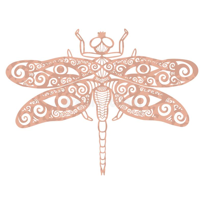 Metallic tattoo Rose gold foil texture Ornate fantasy butterfly with antlers and eyes Decorative totem animal in tribal boho style stock illustration