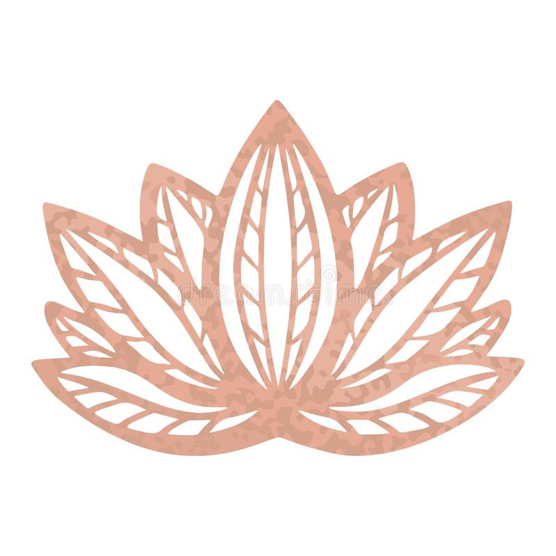 Metallic tattoo Rose gold foil texture, Stylized lotus flower vector design, Mystical decorative zen symbol in ethnic boho style,. Yoga studio logo icon royalty free illustration