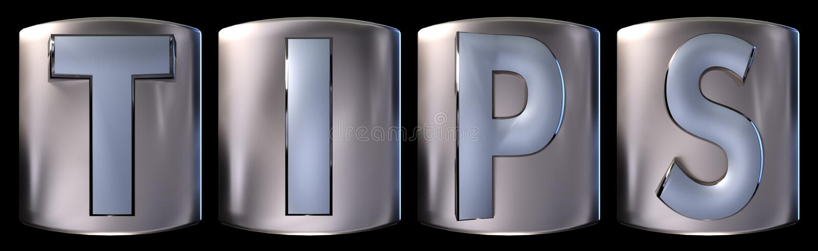 Metallic tips word. Metallic blue silver tips word realistic 3d rendered on black background royalty free illustration