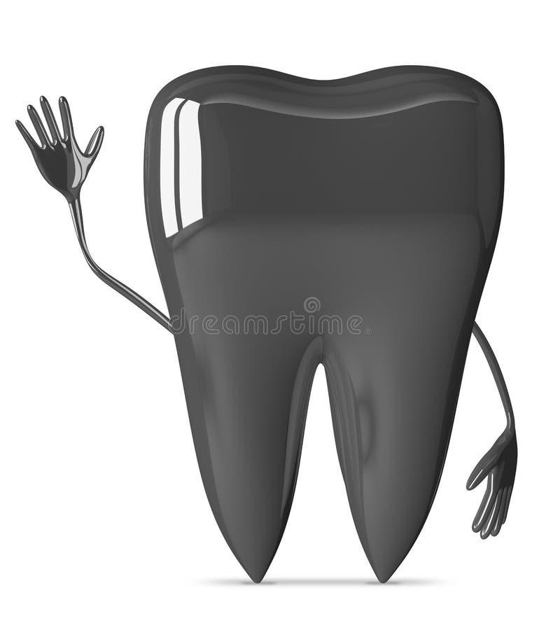 Metallic tooth waving hand stock illustration