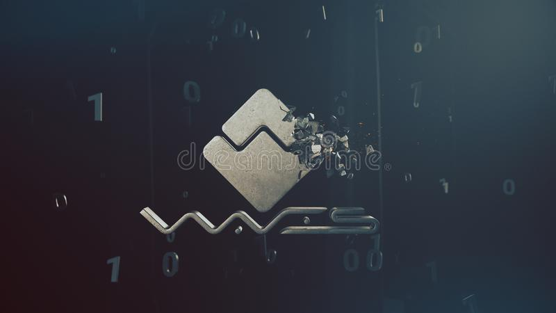 Waves cryptocurrency crushing logo 3d illustration. Metallic waves cryptocurrency logo crushing into small pieces 3d illustration stock illustration