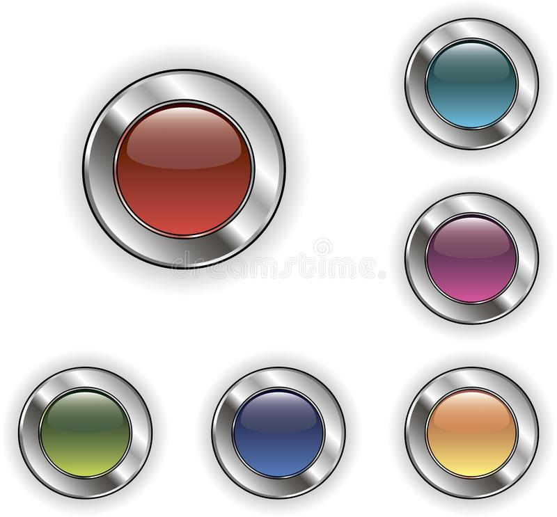 Metallic web buttons stock images