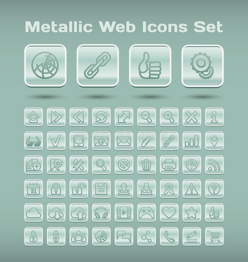 Download Metallic web icons set stock vector. Image of e, computers - 32211509