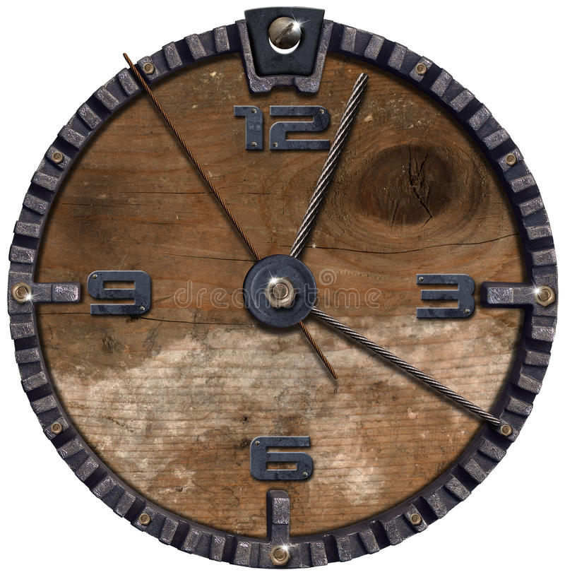 Download Metallic And Wooden Grunge Clock Stock Illustration - Image: 26801062
