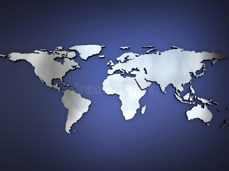 Download Metallic world map stock illustration. Image of geography - 18873954