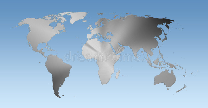 download metallic world map on blue background stock image image of australia platinum