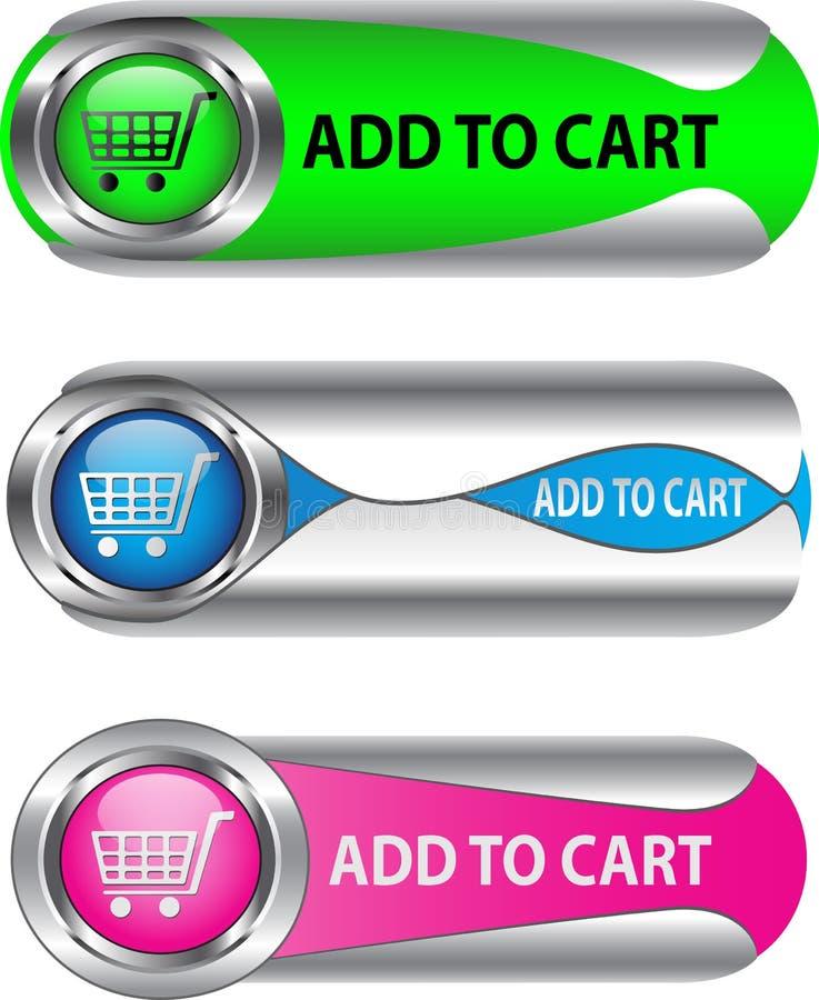 Metallico aggiunga al tasto del carrello/insieme dell'icona royalty illustrazione gratis